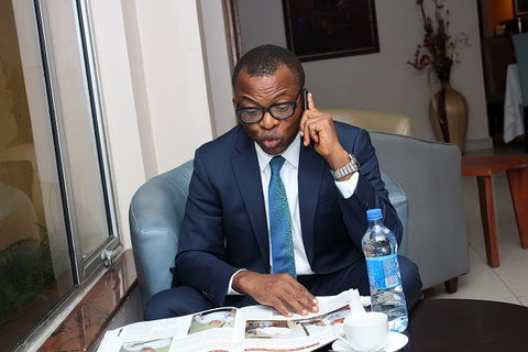 Invited Guest Speaker, Mr. Chidi Okoro having a tea break at the Lobby