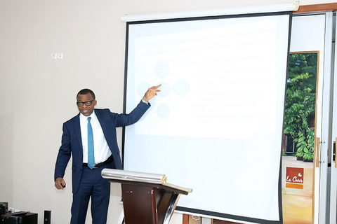 The guest speaker, Mr. Chidi Okoro during his lecture presentation