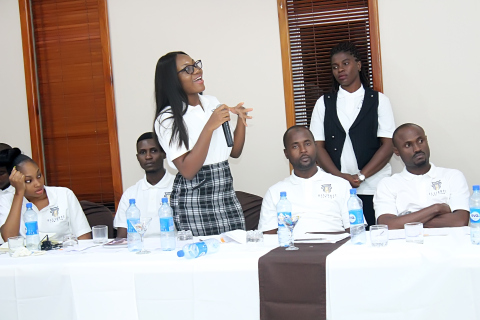 Onye asking a question during the day 2 lecture of the retreat