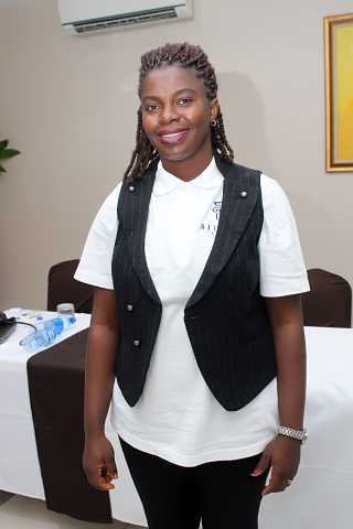 Rose Adaji, an associate during the photo splash session